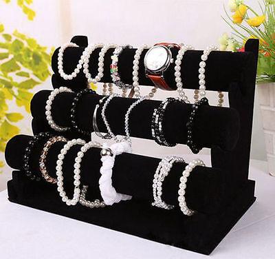 New 3 Tier Black Velvet Jewelry Bracelet Watch Show Display Rack Holder Stand TE