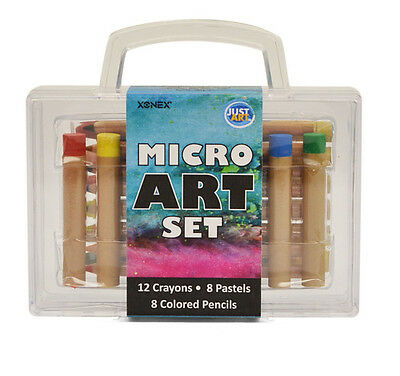 Xonex Micro Art Set, 12 Micro Crayons, 8 Micro Colored Pencils, 8 Micro Pastels