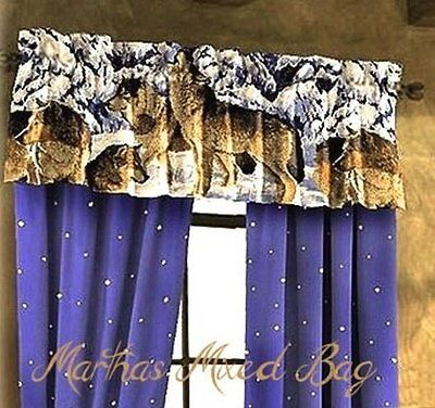 WOLVES Cabin Lodge Blue WINDOW Treatment VALANCE 20