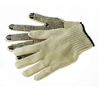 - 12 Pairs of 4Works Work Gloves 7ga Cotton/Polyester - PVC Dotted Palm, Small