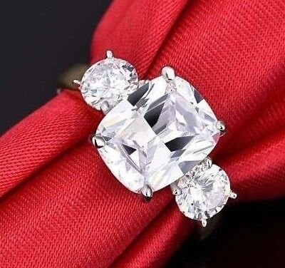 Royal Engagement Meghan Markle Gold   Rhodium Plated 3 Stone Trilogy Ring