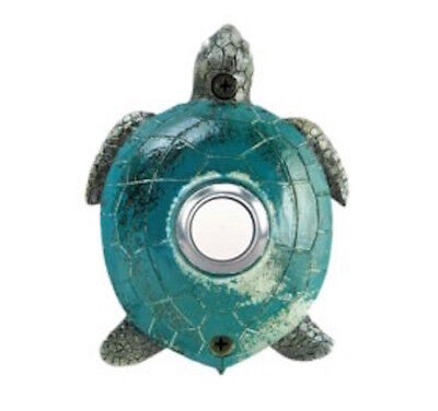 Surface Mount Push Button (Surface Mount Push Button Doorbell Hand Painted Green Turtle Colorful Poly-Resin )