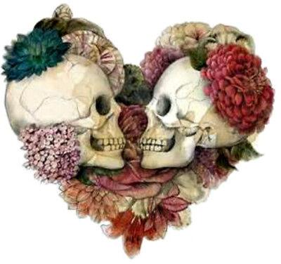 20 water slide nail decals DIY Manicure Valentine heart with skulls trending - Valentine Diys