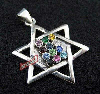 925 Sterling Silver & Crystals STAR OF DAVID & HOSHEN PENDANT - Jewish Jewelry