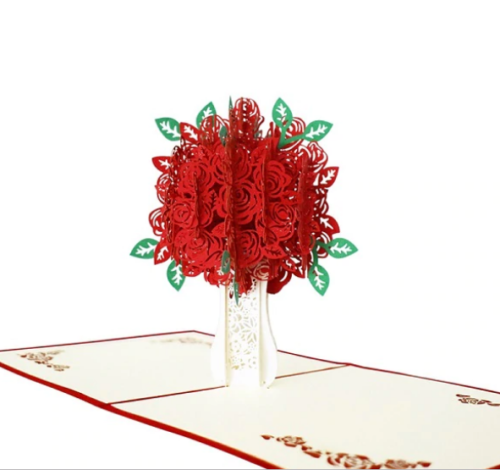 Mother/'s Day3D Pop Up Card Red Flowers Greeting Card Birthday Easter Anniversary