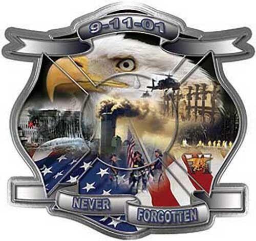 """Firefighter 9-11 Memorial Never Forgotten 911 9-01-11 Decal 8"""" REFLECTIVE FF911"""