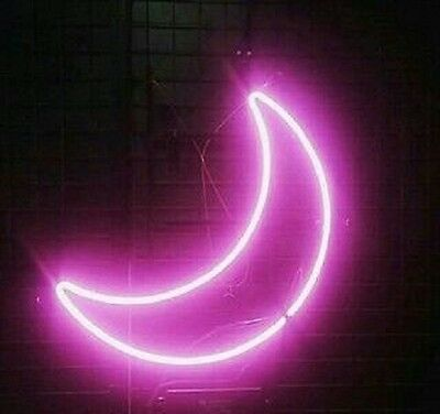 """New Pink Moon Wall Decor Real Glass Neon Sign 14""""x10"""" Ship From USA"""
