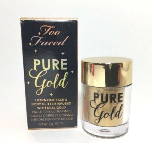 Genuine TOO FACED PURE GOLD Ultra Fine Eyes, Face and Body Loose Glitter 2G
