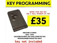 Renault Megane & Scenic - Replacement Key Card Programming (Key not included)