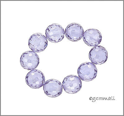 Cubic Zirconia Faceted Round Beads 8mm Lavender 8pc - Cubic Zirconia Faceted Round Beads