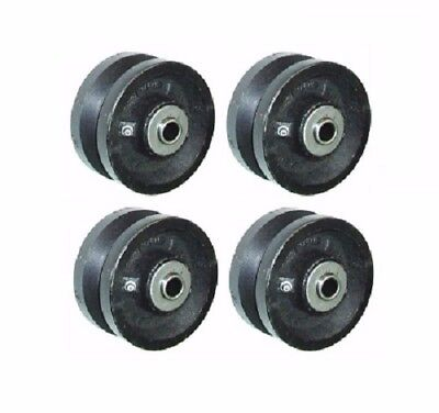 Set Of 4 4 X 1-12 Cast Iron V-groove Wheel 34-12 Axle Id