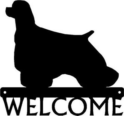 Dog Silhouette Metal Art Welcome Sign Wall Plaque 12