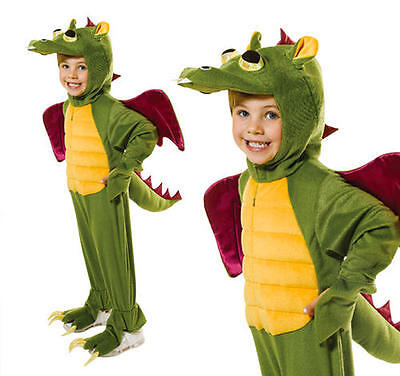 Childrens Green Dragon Fancy Dress Costume Monster Halloween Outfit Kids M ()