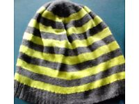 Ladies Grey Marl and Bright Neon Green Striped Knit Beanie Hat-One Size Fits All