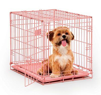 """24"""" Pink Folding Metal Dog Crate w/ Divider Panel Small"""