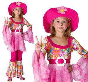 Childrens Hippy Girl Fancy Dress Costume 60'S 70'S Flower Power Outfit L