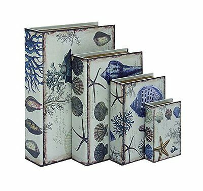 "DecMode 54042 Wood Leather Book box Set Of 4 - 6""  9""  12""  15"" Height"