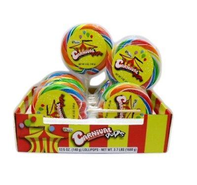 Giant Carnival Pops Swirl Stripped Candy Sucker Lollipops Candies  - 12 / Box](Giant Lollipop)