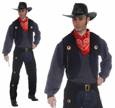 Erwachsene Schwarz Cowboy Weste & Chaps Set Kostüm Kostüm Western Herren - Schwarze Cowboy Chaps & Weste Kostüm