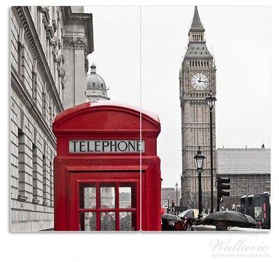 Englands Herd (Herdabdeckplatte 2-teilig aus Glas, 60x52cm, Rote Telefonzelle London, England)