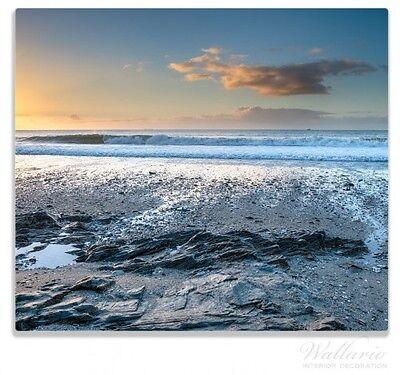 Englands Herd (Herdabdeckplatte 1-teilig aus Glas, 60x52cm, Einsamer Strand Cornwall, England)