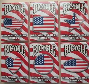 Rare-Lot-6-Bicycle-Red-White-Blue-Deck-Series-1-2-3-4-5-6-Playing-Cards-Magic