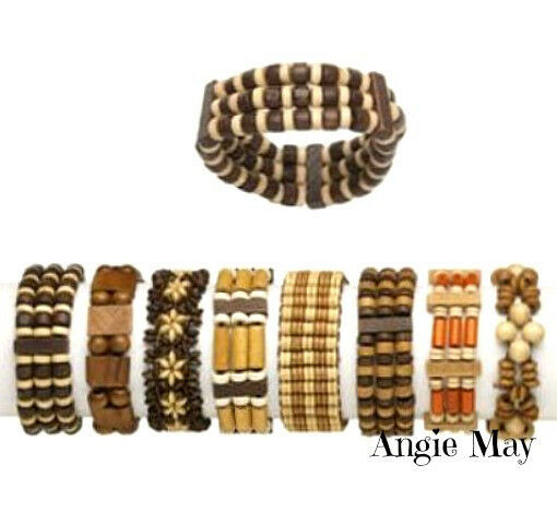 Wholesale 8* Boho Wood Stretch Bracelets Jewelry Mix