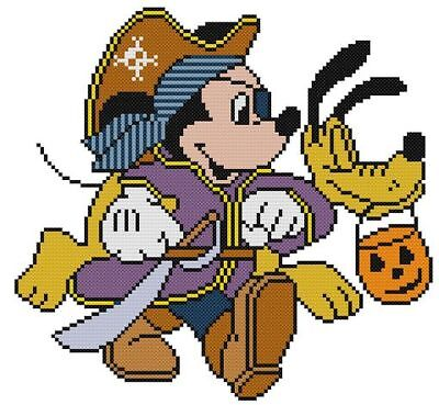 CROSS STITCH+ CRAFT PATTERN  Mickey Mouse Pluto Halloween Pirate Costume Pumpkin - Mickey Mouse Pirate Costume