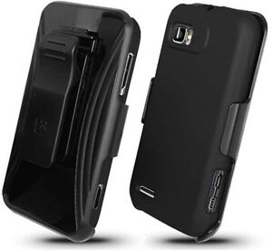 BLACK RUBBERIZED HARD CASE COVER + BELT CLIP HOLSTER FOR MOTOROLA ATRIX-2 MB865