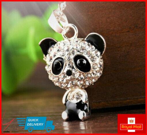 Jewellery - Cute Kitsch PANDA Necklace Girls Jewellery Rhinestone Crystal Long Pendant Gift