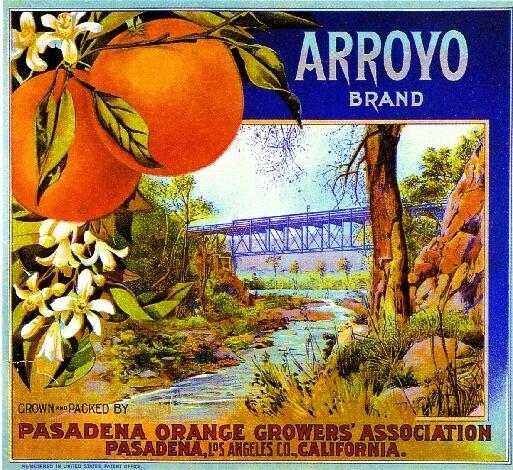 Pasadena California Arroyo Brand Bridge Orange Citrus Fruit Crate Label Print