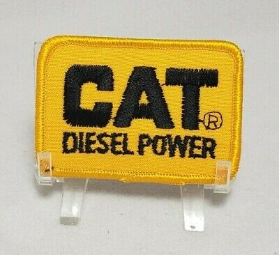 "Vintage New Old Stock Cat Diesel Power Embroidered Iron-On Patch 3"" x 2"" Yellow"