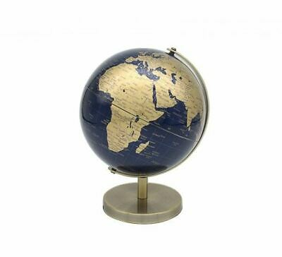 CONTEMPORARY BLUE & GOLD SMALL GLOBE ON METAL BASE ATLAS TABLE DESK ORNAMENT