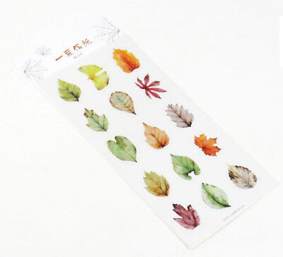 Autumn Leaf Stickers in Water Color Japanese Style