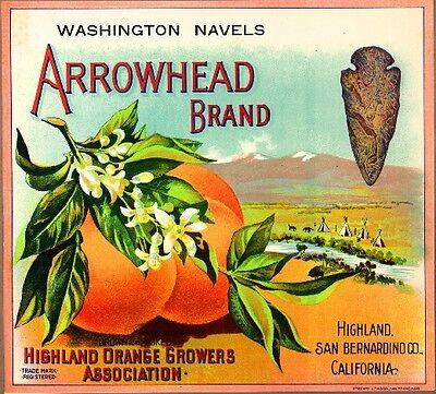 Highland San Bernardino Arrowhead #3 Orange Citrus Fruit Crate Label Art Print