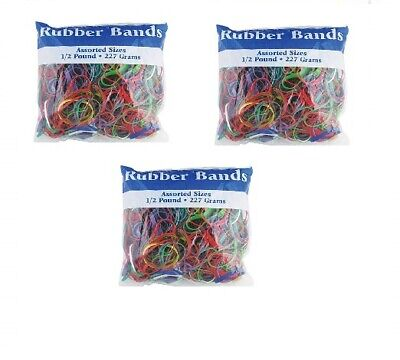 Assorted Color Rubber Bands Asssorted Sizes Half Pound 3 Pack