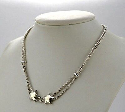 Tiffany & Co. S. Silver 18K Y. Gold Double Rope 2 Sliding Stars Pendant Necklace