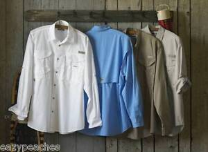 Columbia-Mens-Size-2XL-7120-Long-Sleeve-BONEHEAD-Fishing-Shirt-Sage-Whitecap-XXL