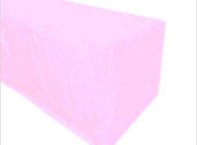 5 Ft. Fitted Polyester Table Cover Tablecloth Trade Show Booth Party Light Pink
