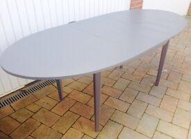Vintage Solid Teak Danish Dining Table French Grey