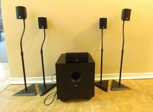 JBL 5.1 Speaker system with black metal telescopic stand