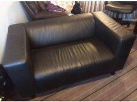 Small black leather sofa / couch