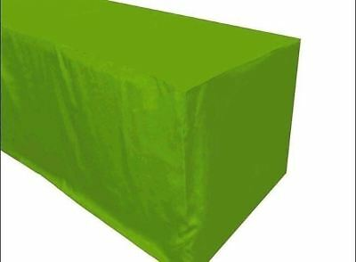 4 Ft. Fitted Polyester Tablecloth Trade Show Booth Table Cover Apple Green