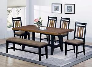 Beautiful 6 Piece Dining Table Set with Bench and Side Chairs