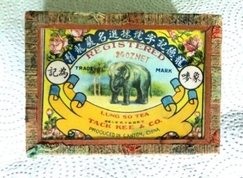 VINTAGE ~ TACK KEE & CO. TEA BOX~  ELEPHANT & DUCK GRAPHICS~ GLASS LID