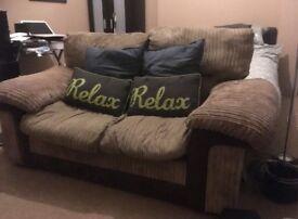 Brown Corduroy 2 seater sofa