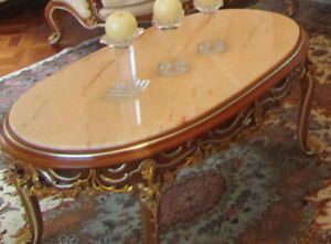 Asnaghi Italian White Marble Coffee Table Gold-Inlaid