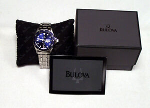 Bulova Authentic Watch Marine Star Day Date Blue Dial Steel Bracelet 98C62 NEW!