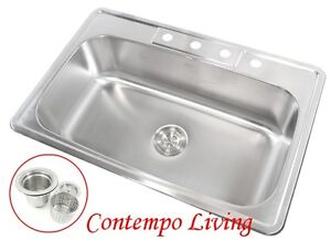 ... Deep Top Mount Drop In Stainless Steel Single Bowl Kitchen Sink