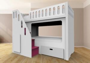 MINI TWIN BUNK BED / Loft Bed with Playhouse & Stairs . ♥‿♥